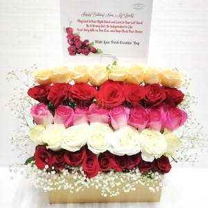 Flower box bunga mawar 5 warna
